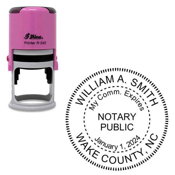 North Carolina With Expiration Date Notary Pink Stamp - Round