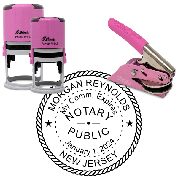New Jersey Notary Pink - Round Design