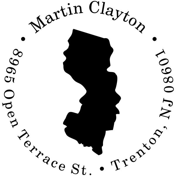 New Jersey Round Address Stamp