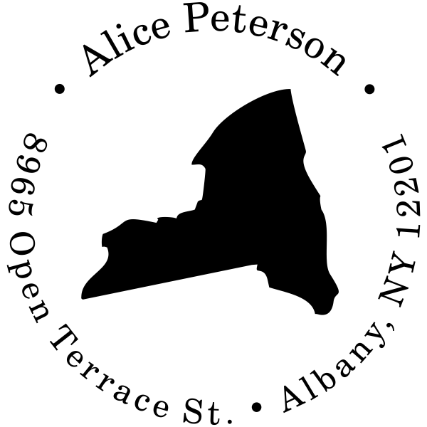 New York Round Address Stamp
