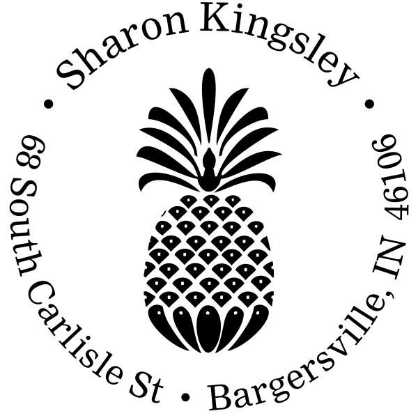 Fancy Pineapple Return Address Stamp