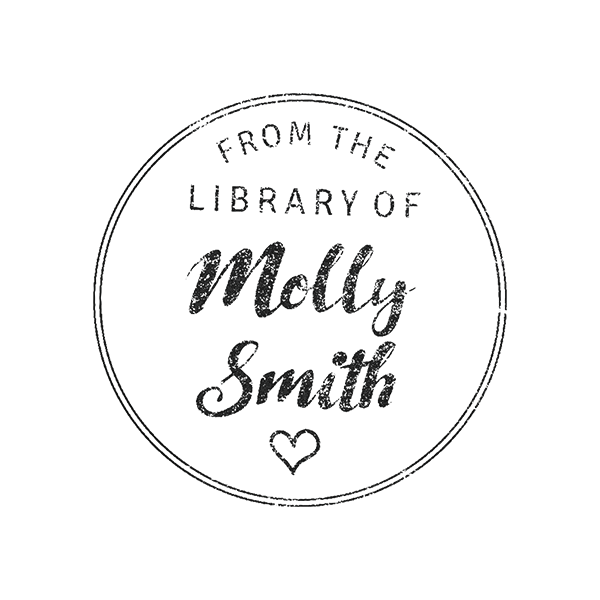 Round Heart 'From the Library of' Teacher Stamp