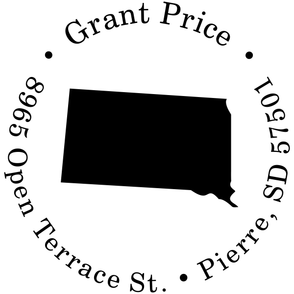 South Dakota Round Address Stamp
