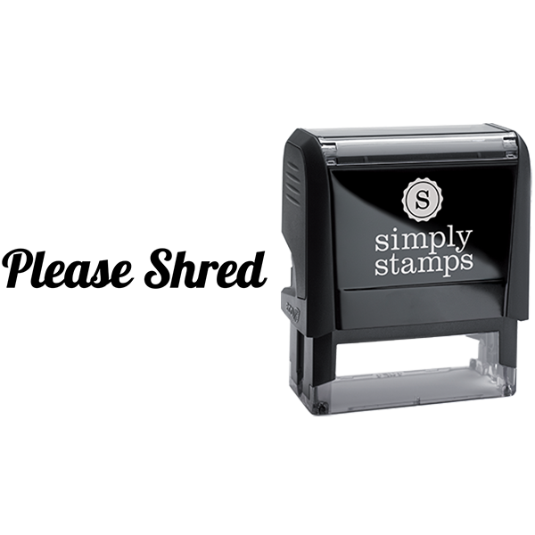 Please Shred in Script Lettering Business Stamp
