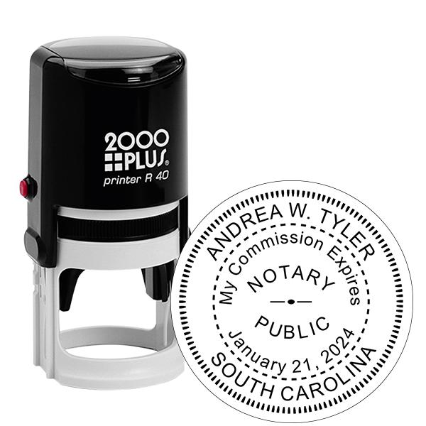 South Carolina Notary With Expiration Date Round Stamp