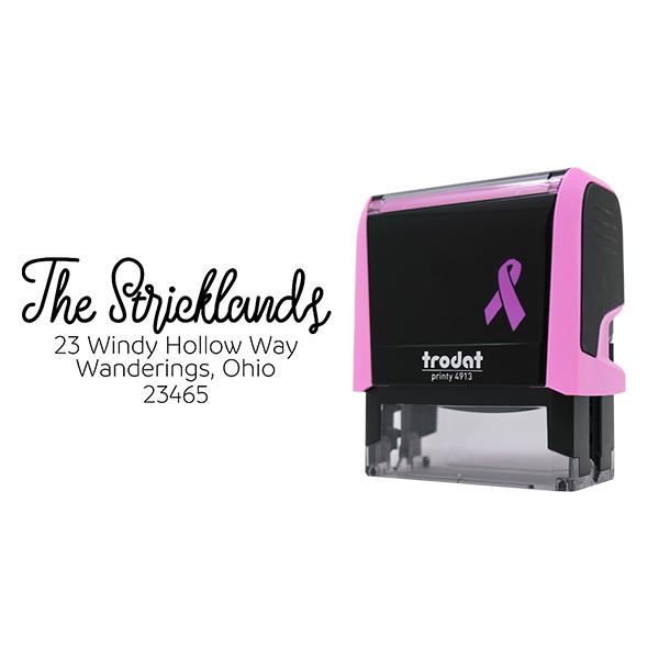 Strickland Pink Return Address Stamp