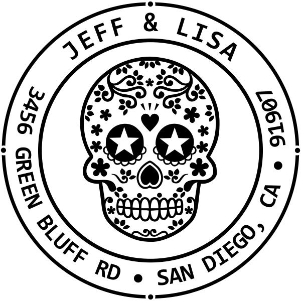 Sugar Skull Two Round Address Stamp