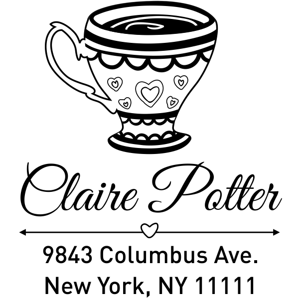 Heart Victorian Tea Cup Address Stamp