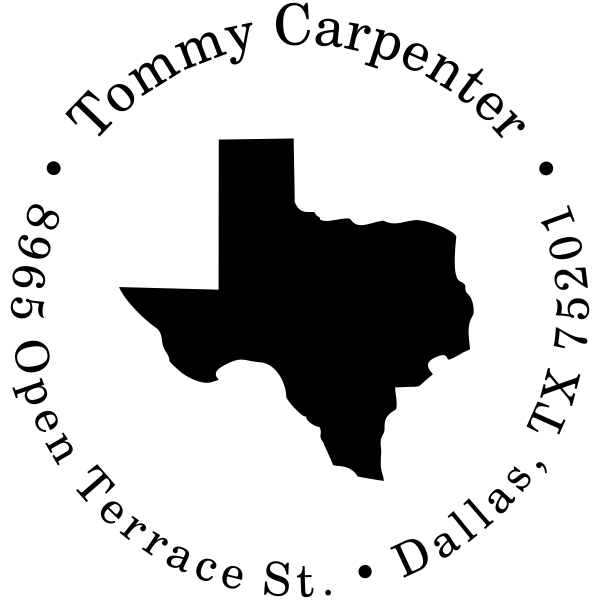 Texas Round Address Stamp