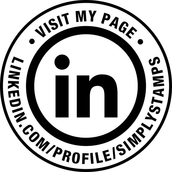 Visit My Linked In Page URL Round Stamp