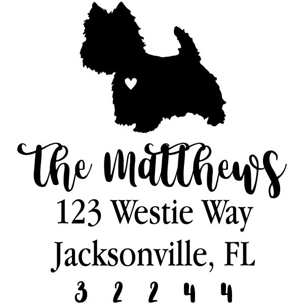 West Highland White Terrier Love Address Stamp