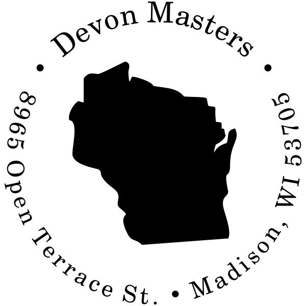 Wisconsin Round Address Stamp