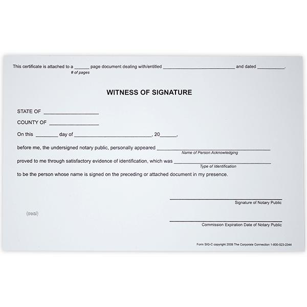 Witness Signature Notary Certificates