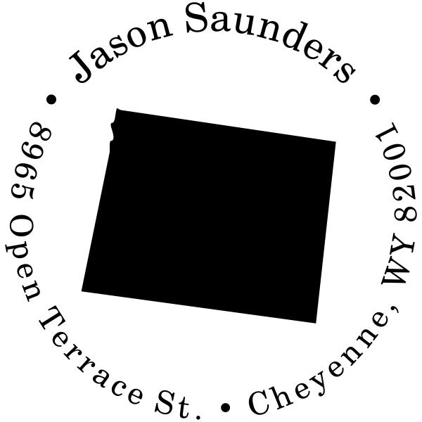 Wyoming Round Address Stamp