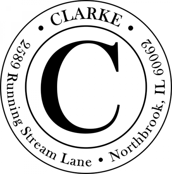 Clarke Large Initial Round Address Stamp
