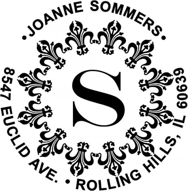 fancy monogram rubber address stamp