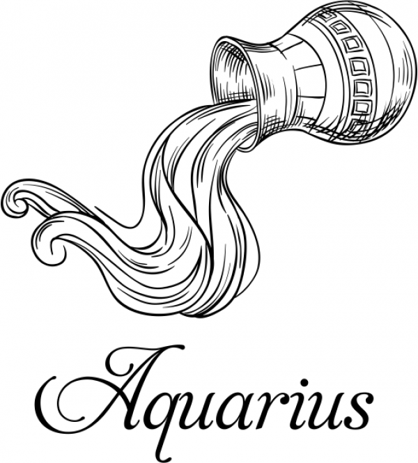 Modern Aquarius Illustration Hand Stamp