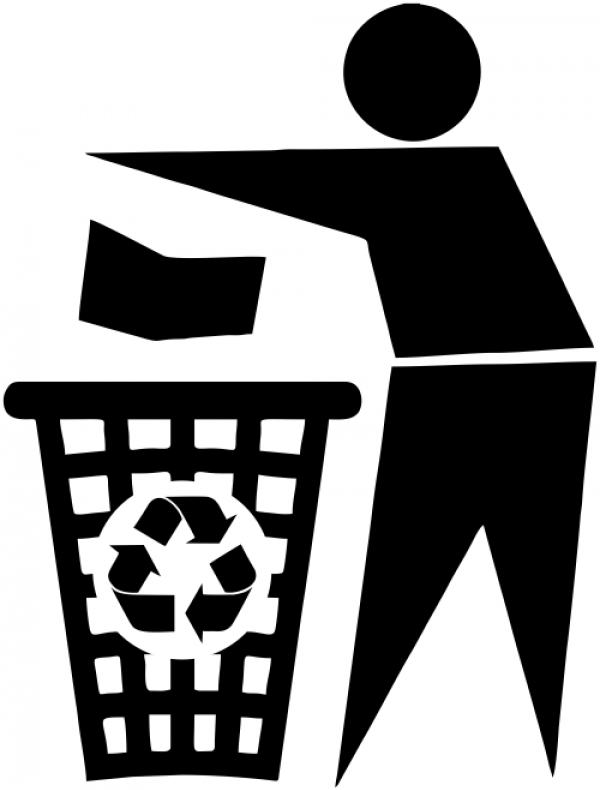 Man Promote Recycle Bin Rubber Stamp