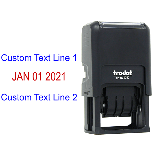 Self-Inking Top and Bottom Line Custom Date Stamp Body and Design