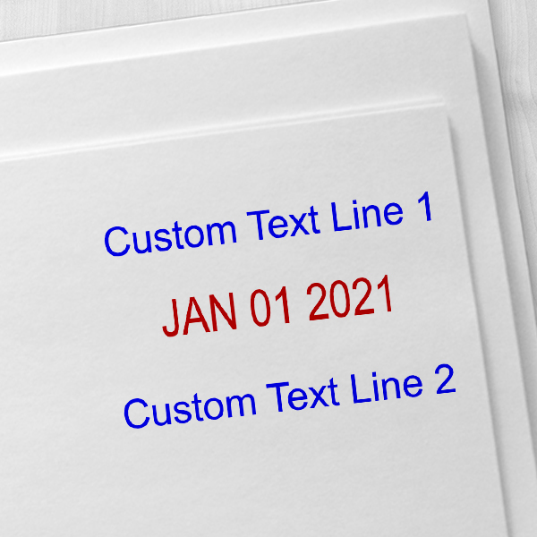 Self-Inking Top and Bottom Line Custom Date Stamp Imprint Examples on Envelopes