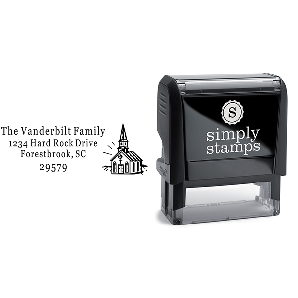 Church Building Rectangle Address Stamp Body and Design