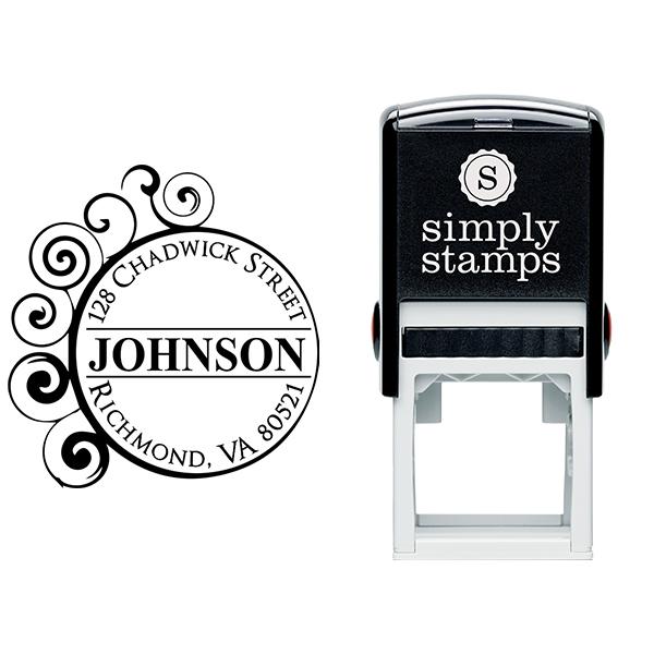 Circle Curve Filigree Return Address Stamp Body and Design