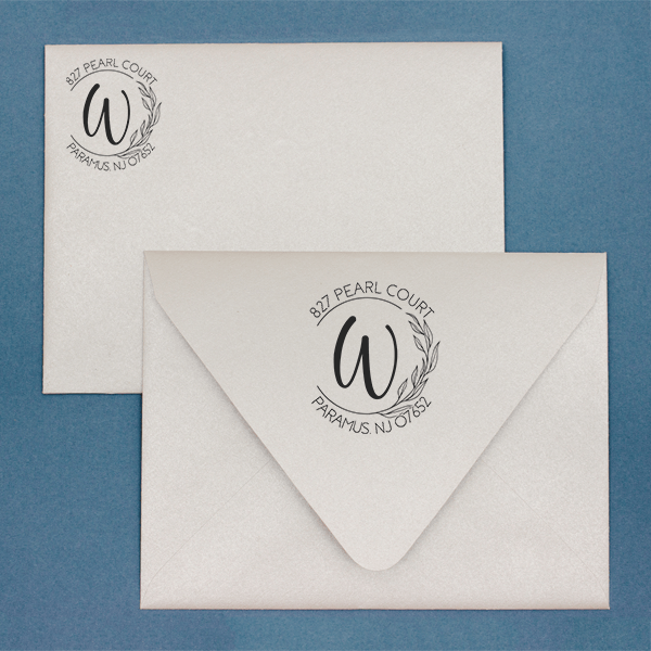 Floral Monogram Custom Address Stamp