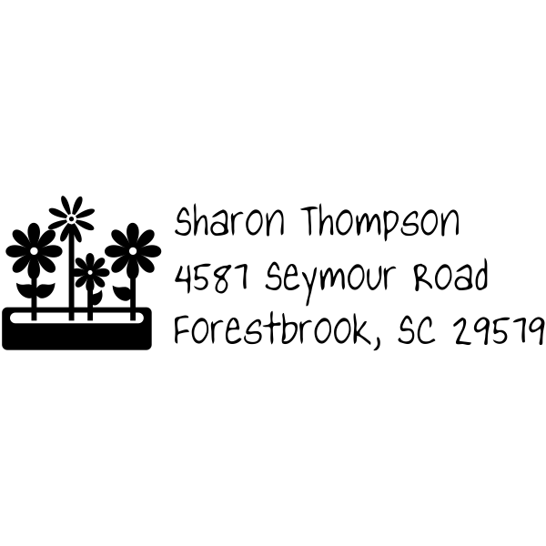 Flower Box Custom Rubber Address Stamp