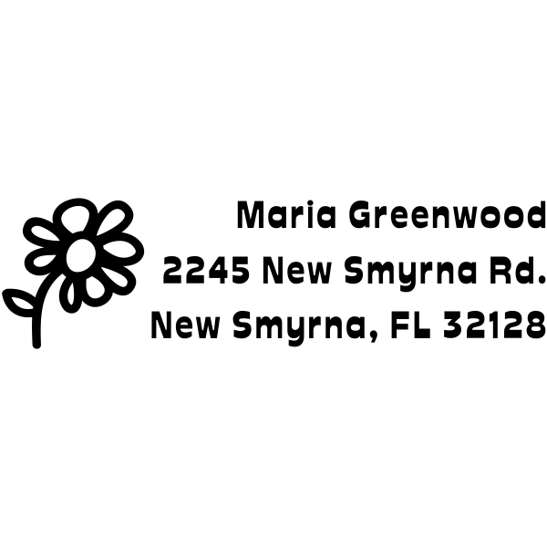 Daisy Flower Recangle Address Stamp