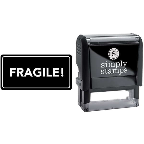 Rounded Rectangle Fragile Business Stamp