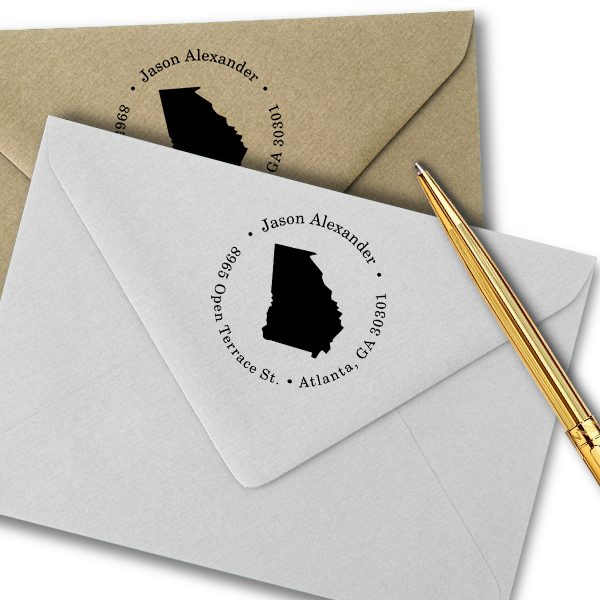 Georgia Round Address Stamp Imprint Example