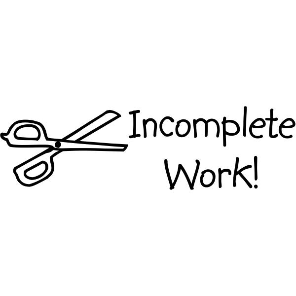 Grading - Incomplete Work Scissors Rubber Teacher Stamp