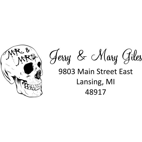Skull Mr & Mrs Halloween Address Stamp