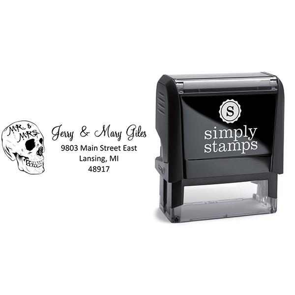 Skull Mr. & Mrs. Halloween Return Address Stamp Body and Design