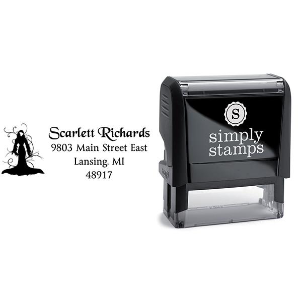 Female Death Halloween Return Address Stamp Body and Design
