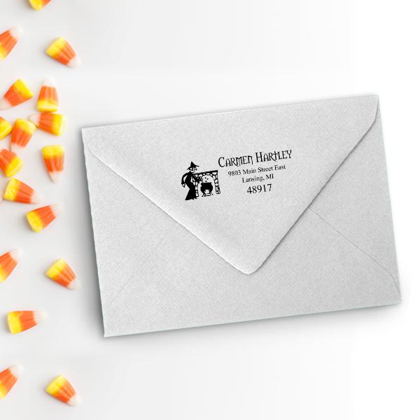 Witches Brew Halloween Return Address Stamp Imprint Example