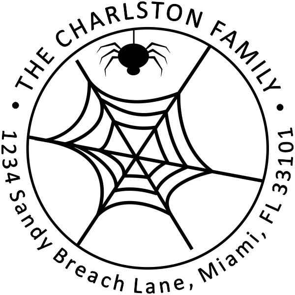 Spider Web Halloween Return Address Stamper