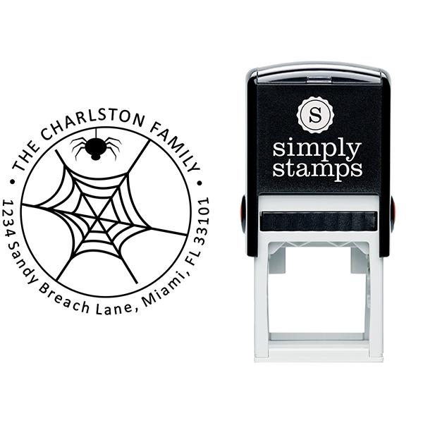 Spider Web Halloween Return Address Stamp Body and Design