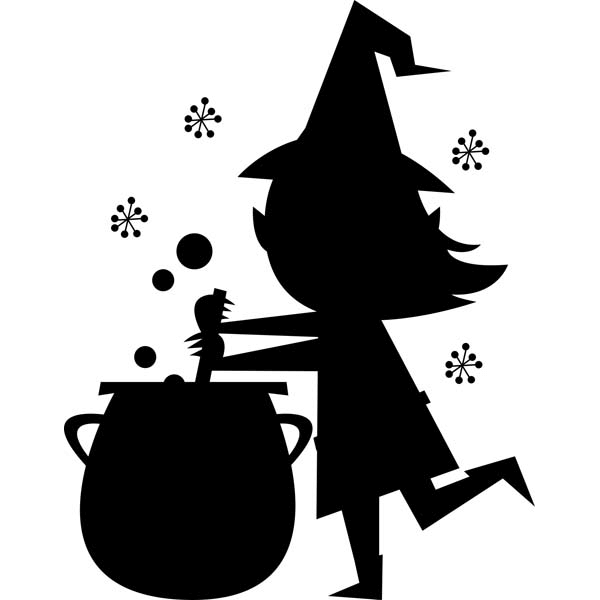 "Witch and Cauldron Halloween Craft Stamp | 2"" x 2"""