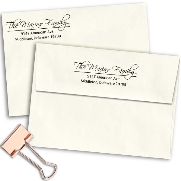 Marino Family Handwritten Address Stamp Imprint Example
