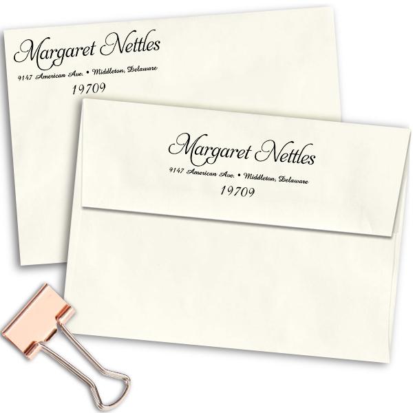 Nettles Handwritten Address Stamp Imprint Example
