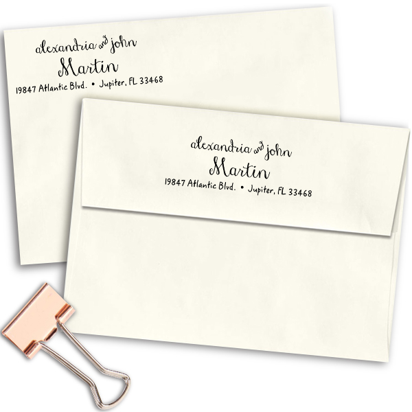 Martin Handwritten Address Stamp Imprint Examples on Envelopes