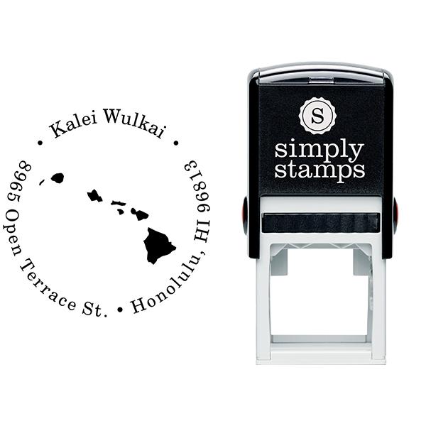 Hawaii Round Address Stamp Body and Design