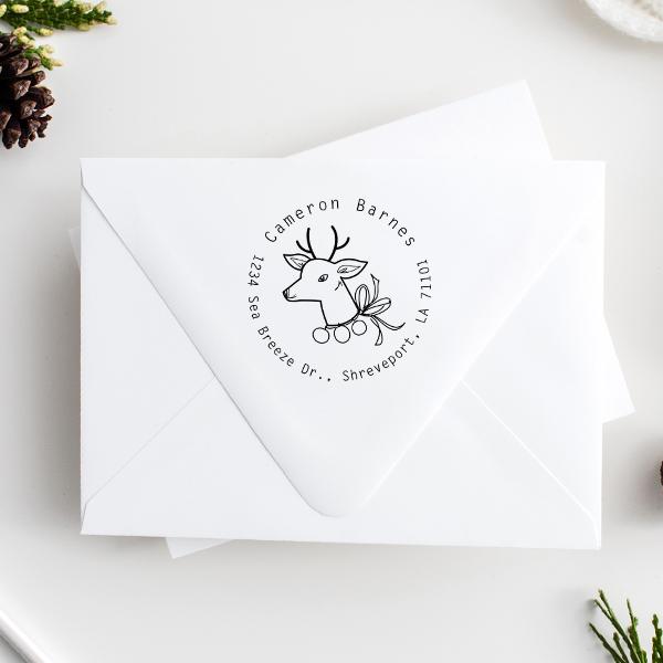 Vintage Reindeer Return Address Stamp Imprint Examples on Envelopes
