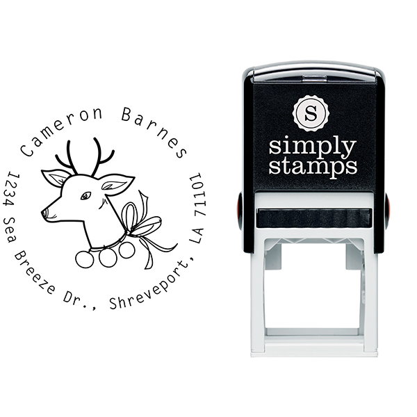 Vintage Reindeer Return Address Stamp Body and Imprint