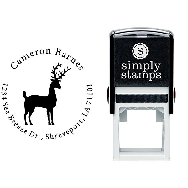 Stag Reindeer Return Address Stamp Body and Design