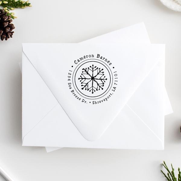 Hand Drawn Snowflake Return Address Stamp Imprint Examples on Envelopes