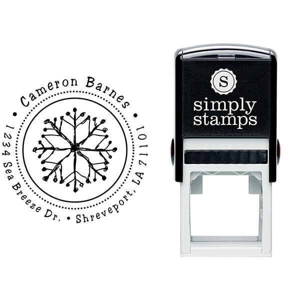Hand Drawn Snowflake Return Address Stamp Body and Imprint