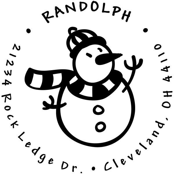 Cute Snowman With Scarf Custom Return Address Stamp