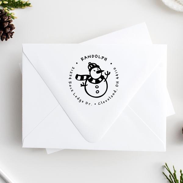 Scarved Snowman Return Address Stamp Imprint Example